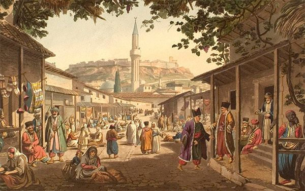 Painting of the bazaar at Athens, de Edward Dodwell.
